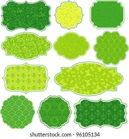 Set Retro green Tag. Vintage Colorful Design elements for scrapbook - Old tags and frames. Vector Illustration
