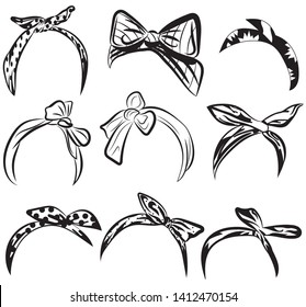 Set retro headband for woman. Collection of bandanas for hairstyles. Black and white windy hair dressing illustration.