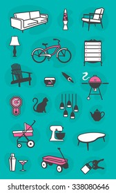 Set of retro home vector icons of common household items including furniture and fixtures. Fully scalable and editable.