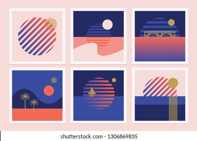 Set of retro illustrations in marine theme with rising sun
