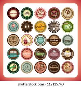 set of retro label design