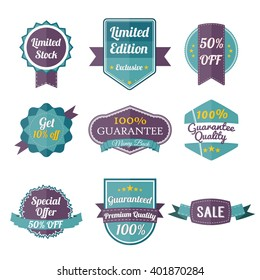 Set of retro labels and banners isolated on white. Vector Illustration. Special offer banner. Premium quality label. Sale stamp. Big Clearance. vector layout