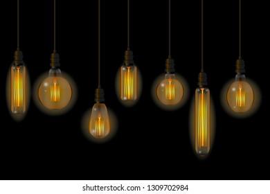 Set of retro lamps of Edisson. No blend. No mesh. Vector illustration.