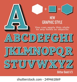 Set of retro letters and retro graphic style. You can apply this style to any fonts and objects, vector. EPS 10.