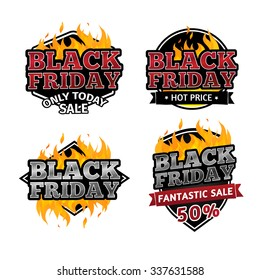 Set of retro logos, badges, buttons, icons, price tags for sale on Black Friday. The decor of the fire. Vector.