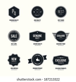 Set of retro minimalistic  badges and labels. flat design with stylish colors. Vector