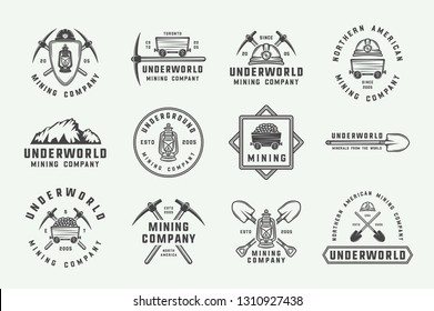 Set of retro mining or construction logos, badges, emblems and labels in vintage style. Monochrome Graphic Art. Vector Illustration. - Vector