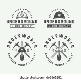 Set of retro mining or construction logos, badges, emblems and labels in vintage style. Monochrome Graphic Art. Vector Illustration.