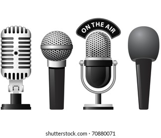 Set of retro and modern microphones in different styles