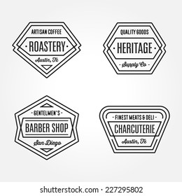 Set of retro monochrome geometric badge logo design templates with vintage feeling for ���° wide variety of businesses