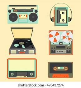 Set of retro music gadgets from 2oth century. Old musical devices vector illustration. Tape stereo system, audio cassette, reel-to-reel recorder, walkman player, radio, gramophone
