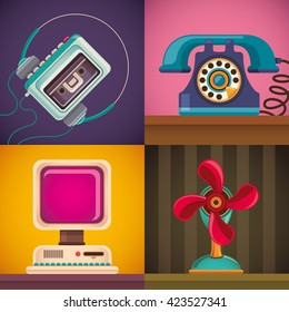 Set of retro objects illustration. Vector illustration.