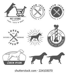 Set of retro pet care labels, badges and design elements