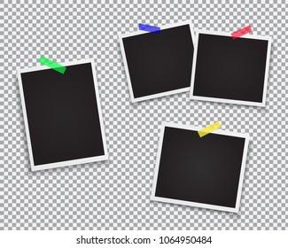 set blank retro polaroid photographs shadow stock vector royalty