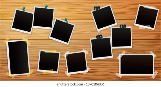 Set of Retro photo frames on wooden background with shadows. Vector illustration.