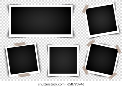 Set of Retro photo frames with shadows. Vector illustration