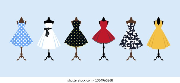 Set of retro pinup cute woman dresses on a mannequin. Short elegant design lady dress collection. Vector art image illustration, isolated on background