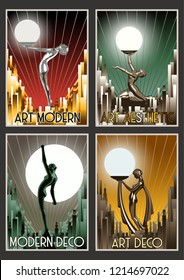 Set of Retro Posters from the Roaring Twenties Art Deco Stylization