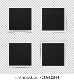 Set of retro realistic photo frame with different shadow options on transparent background.