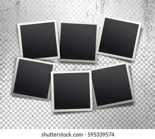 Set of retro realistic vector photo frame with figured edges. Template photo design textures. Isolated on transparent background