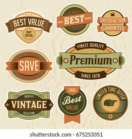 A set of retro retail labels and badges.