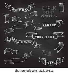 Set of retro ribbons on chalkboard background. Hand-drawn ribbons. Vector illustration. There is place for your text.