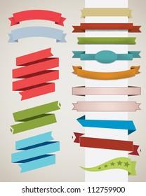 Set of retro ribbons. Vector illustration