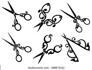 Set of retro scissors.