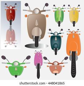 vintage scooter vector front images stock photos vectors shutterstock https www shutterstock com image vector set retro scooter motorbike front view 448041865