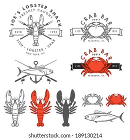 Set of retro seafood, crab, lobster, fish design elements. No transparency or gradient mesh used.
