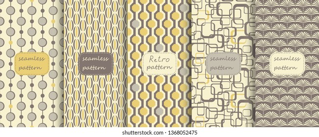 Set of Retro seamless patterns from the 50s and 60s. Seamless abstract Vintage background in sixties style. Abstract geometric pattern