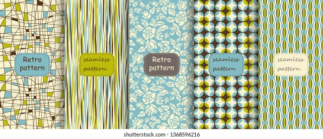 Set of Retro seamless patterns from the 50s and 60s with frames. Seamless abstract Vintage background in sixties style. Abstract hand drawn patterns in retro colors