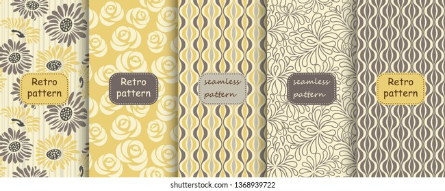 Set of Retro seamless patterns from the 50s and 60s. Seamless abstract Vintage background in sixties style. Abstract floral patterns in retro colors with frames