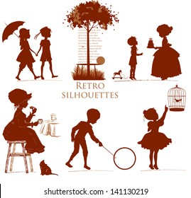 Set of retro silhouettes children