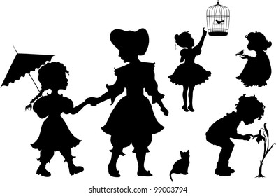Set of retro silhouettes playing kids