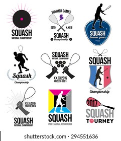 Set of retro squash logos, emblems and design elements. Icons rackets and athletes. Emblem squash Championships.