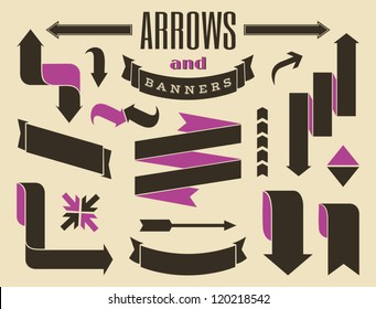 A set of retro style banners and arrows.