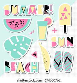 A set of retro style summer stickers in green, pink and yellow geometric background. Perfect for creating summer themed posters, advertising, wall art, t-shirt designs.
