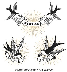 Set of retro style tattoo with swallow bird. Design elements for logo, label, emblem, sign, badge. Vector illustration