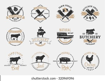 Set of retro styled butchery logo for groceries, meat stores, packaging and advertising.