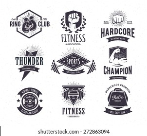 Set of retro styled fitness emblems. Vintage gym logo templates. Vector illustrations.