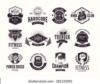 Set of retro styled fitness emblems. Vintage gym logo templates. Vector illustrations.