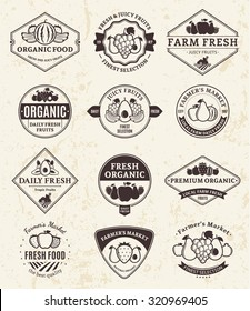Set of  retro styled fruit logo templates for groceries, agriculture stores, packaging and advertising