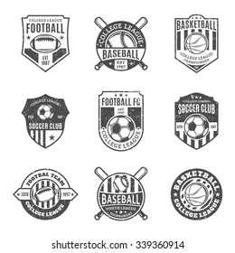 Set of retro styled sport team logo templates. Soccer, football, baseball, basketball labels