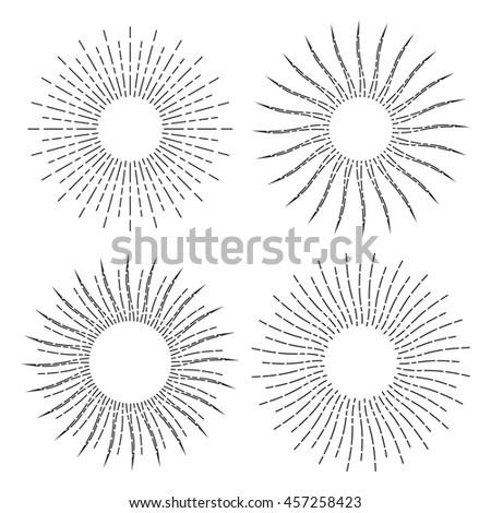 Set Retro Stylized Symbols Sun Sunburst Stock Vector Royalty Free