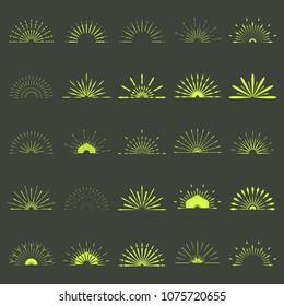 Set of Retro Sun burst shapes. 25 Half Vintage logo. Vector design element isolated. Minimal Gold firework burst.