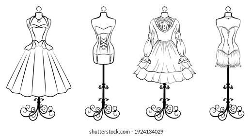 Set of retro tailor's mannequins with vintage dresses. Linear drawing minimalism clothes on a hanger