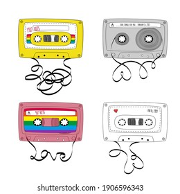 Set of Retro tape cassettes. Vintage mixtape. 1980s and 90s pop songs tapes and stereo music cassettes. Vector illustration