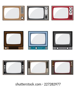 Set of retro television icons.