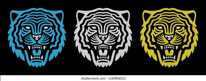 Set of retro tiger faces. Vintage design. Retro logo. Roaring tiger.